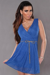 Blue Sexy KouCla Minidress With V-Neck Snd Belt