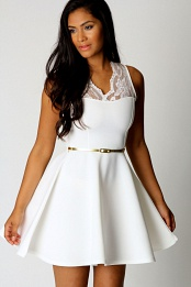 White Nadine Scallop Lace Belted Skater Dress