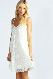 White Nicola Strappy Lace Swing Dress