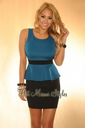 Teal Black Peplum Key-Hole Back Dress