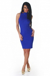 Blue High-Neck Sleeveless Sweater Dress