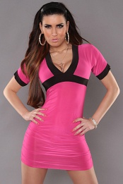 Fuchsia Sexy Minidress With V-neck