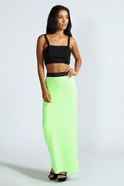 Lime Leanne Neon Jersey Maxi Skirt