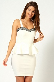 Ivory Mollie Embellished Top Peplum Dress