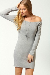 Grey Alice Off The Shoulder Long Sleeve Bodycon Dress
