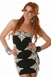 Black Strapless Evening Dress With Gold Lace Insets