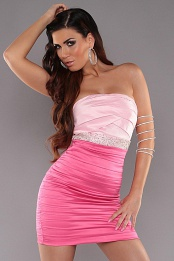 Fuchsia-Pink Sexy Pleated Dress With Sequins