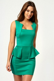 Green Olivia Square Neck Peplum Bodycon Dress
