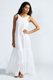 Beth Embroidered Neck And Tier Crochet Maxi Dress