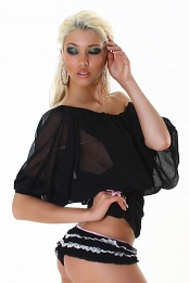 Black Chiffon Black Bottom Off-Shoulder Top
