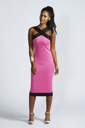 Pink Kelly Contrast Band Midi Dress