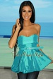 Sea Green Belted Strapless Bubble Top