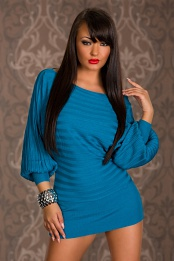 Turquoise Short Sweater Dress With Wide Sleeves