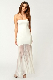 Cream Tamsin Bandeau Chiffon Fishtail Maxi Dress