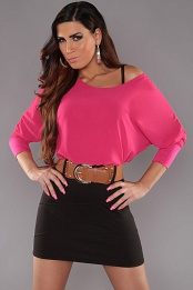 Fuchsia Top Black Skirt Off-Shoulder Belted Dress