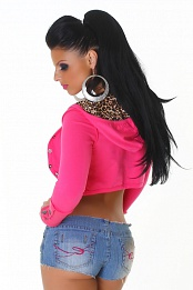 Pink Hooded Bolero With Leopard Lining