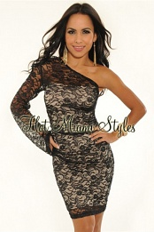 Black Lace One Shoulder Knee Length Dress