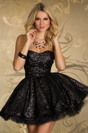 Black Sequined Strapless Prom Dress With Puffy Skirt