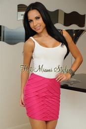 Pink Overlapping Mini Skirt