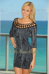 Blue Distressed Cage Dress