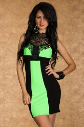 Black-Green Fitted Dress With Lace Decollete
