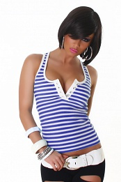 Blue White Striped Tank-Top With Cut