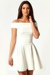 Ivory Sara Seam Detail Off The Shoulder Skater Dress
