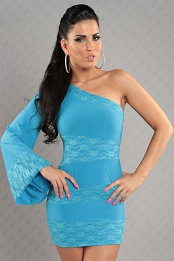 Turquoise Asymmetrical One Sleeve Lace Insets Dress