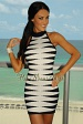 Navy White Magnetic High-Neck Bandage Dress