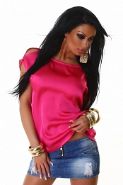 Pink Satin Crew Neck Blouse