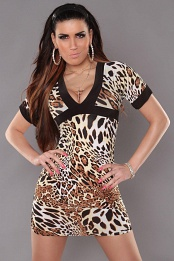 Leopard Sexy Minidress With V-neck