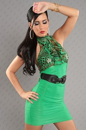 Green Leopard Top Ruched Belted Dress