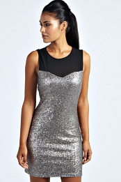 Silver Morgan Sweetheart Sequin Bodycon Dress