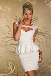 Cream Breast Cut-Out Bodycon Peplum Dress