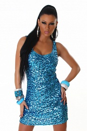Turquoise Sequined Sleeveless Club Dress