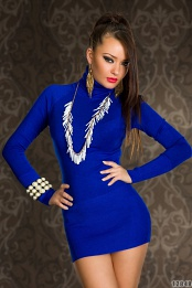 Blue Turtleneck Long Sleeves Sweater Dress