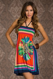Orange Flower Print Multicolor Stripes Summer Dress