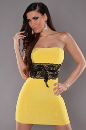Yellow Sexy Strapless Dress With Lace Waistband