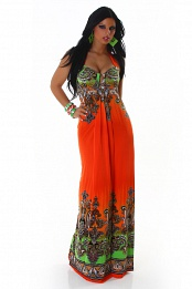 Orange Paisley Long Halter Summer Dress