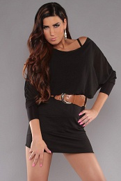 Black Top Black Skirt Off-Shoulder Belted Dress