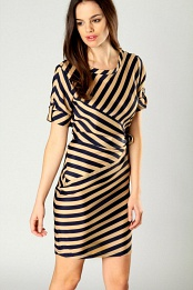 Beatrice Striped Sleeve Tie Side Dress