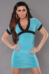 Turquoise Sexy Minidress With V-neck