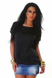 Black Satin Crew Neck Blouse