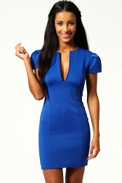 Blue Billie V Neck Cap Sleeve Bodycon Dress