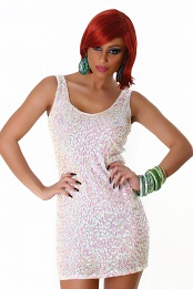 White Sequined Sleeveless Club Dress