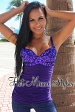 Purple Sequins Padded Ruched Top