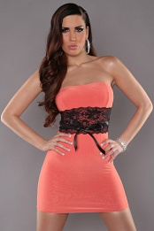 Coral Sexy Strapless Dress With Lace Waistband