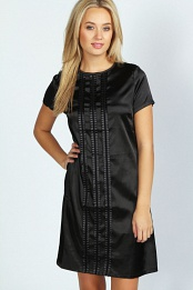 Black Joanne Satin Detail Shift Dress