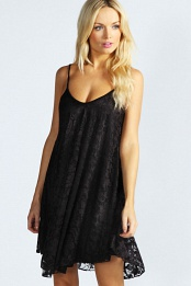 Black Nicola Strappy Lace Swing Dress