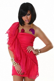 Fuchsia Dress With Diagonal Double Frill